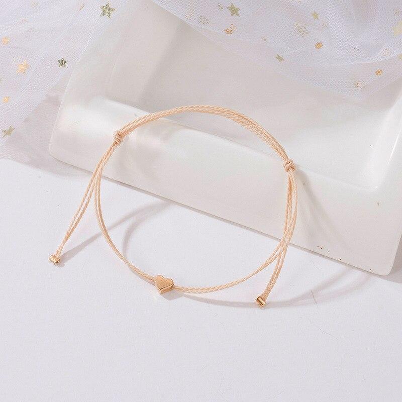 Bohemian Handmade Beige Rope Bracelet Men Women Adjustable Minimalist String Heart Bracelet Female Korean Jewelry Gifts