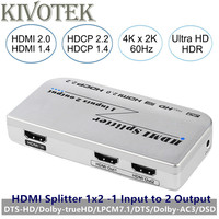 4k/60Hz 3D 1x2 HDMI2.0V Splitter Box HDR 2 Ports HDMI Male Connector Output AC3/DSD,Power Adapter for HDTV Display Free Shipping