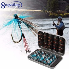 Sougayilang 40pcs Fly Fishing Lure Flies Trout Lures Dry/Wet Flies Nymphs Ice Fishing Lures Artificial Bait with Waterproof Box 1pcs 10 5cm 18g fishing flies ocean beach fishing spinnerbait ice fishing lures trolling lure fishing lure reservoir pond