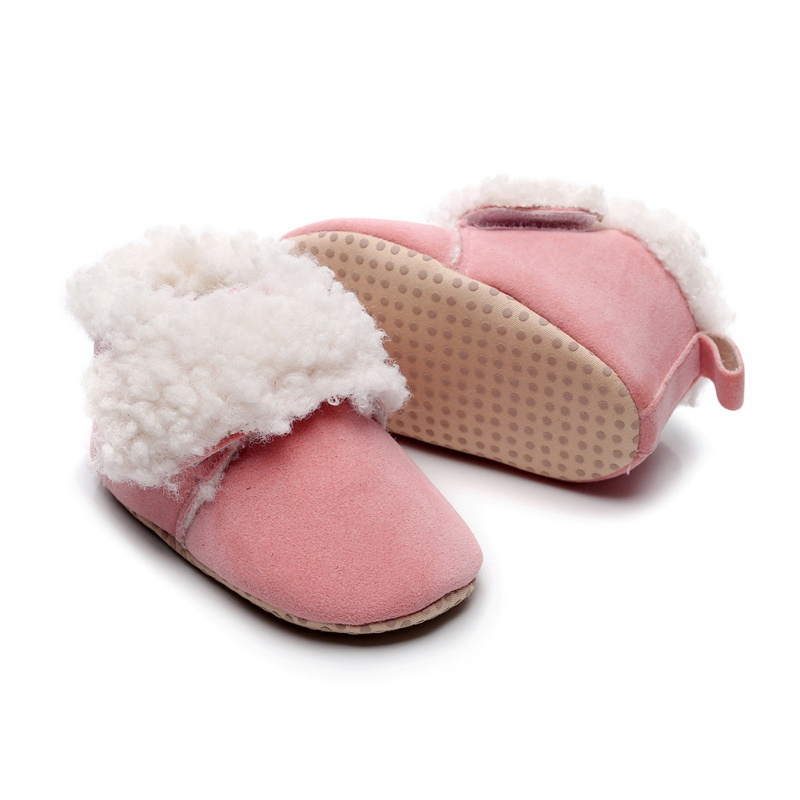 Winter Warm Snow Boots Infant Leopard Print Booties PU Leather Soft Soled Shoes Baby Anti-Slip Boot Toddler Cotton Shoes