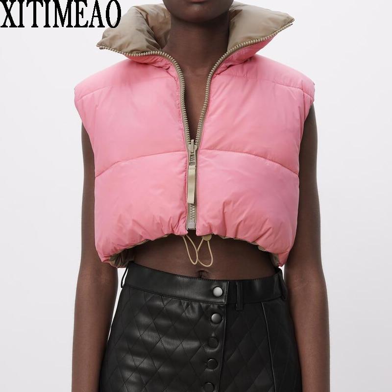 Za moda feminina grosso casaco quente vintage bolsos drawstring wear tanto positivo e negativo sem mangas algodão colete outerwear