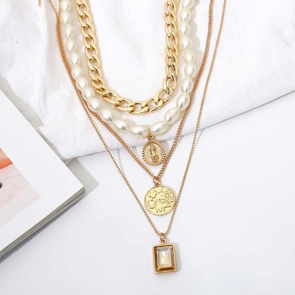 2019 חדש שרשרת זהב רב שכבתי פרל שרשרת גיאומטרי תליון קריסטל שרשרת דוגמניות יצרנים סיטונאי