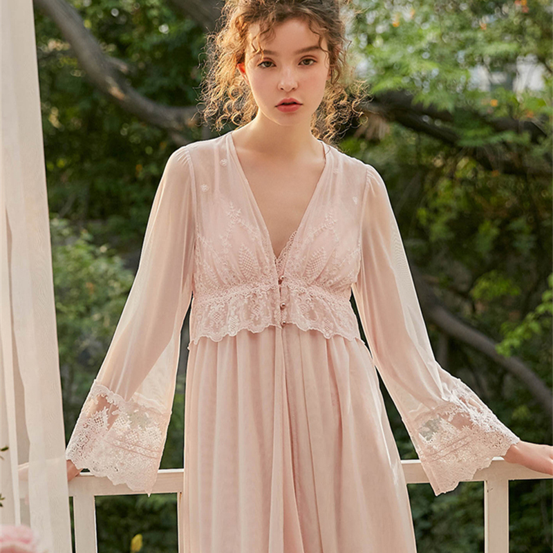 Elegant Robe Women Embroidered Lace Dressing Gown Robes Ladies Lace Robe Set Soft & Comfortable