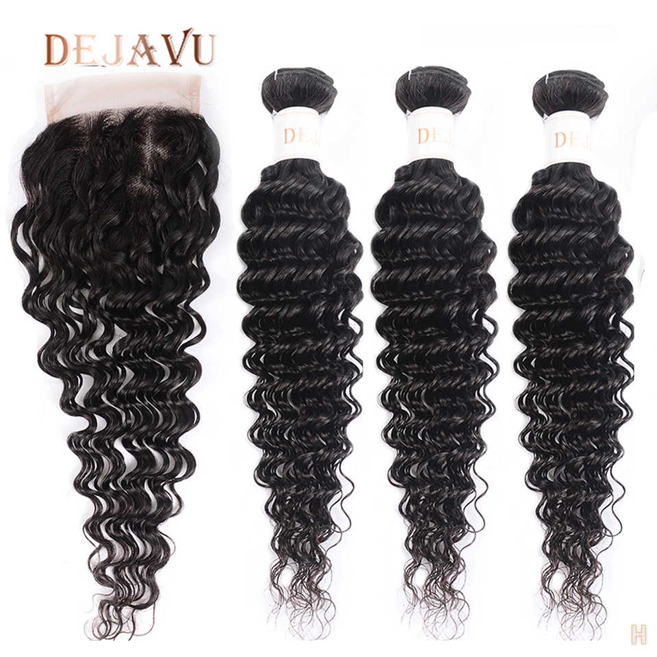 DEJAVU Deep Wave Bundles With Closure Non-Remy Human Hair Closure With Bundles Malaysian Weave With 4*4 Lace Closure Cabelo