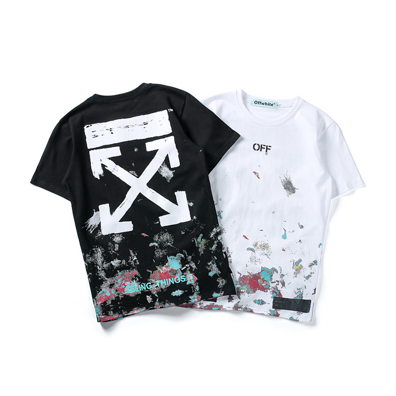 Europe And America Popular Brand Off-white Men Casual Half Sleeve 18ss Star Fireworks Black And White Short Sleeves T-shirt
