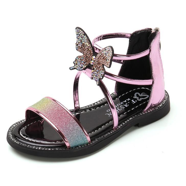 Hot Kids Girls Summer Sandals Little Girls Sandals Leather Big Children Bow Princess Beach Sandal
