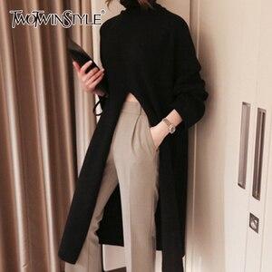 Image 1 - Женский вязаный свитер TWOTWINSTYLE, черный пуловер оверсайз с длинным рукавом и разрезом на осень