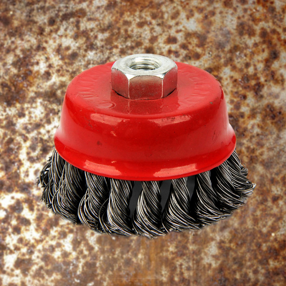Paint Remove Deburring Red Metal Quick Strong Durable Rotary Rust Clean Twist Knot Flat Cup Angle Grinder Brush Steel Wire Wheel