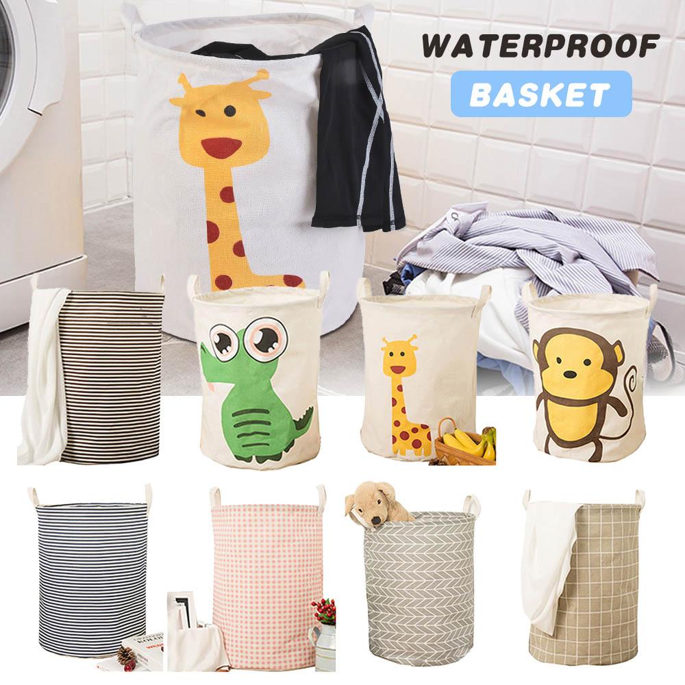 Practical Round Laundry Basket With Hamper Animal Decor Foldable Storage Laundry Basket Clothes Toy Collapsible Holder Organizer