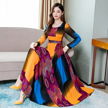 2019 Autumn New Arrival Plus Size M-3XL Korean Round Collar Color Block Long Sleeve Woman Chiffon Dress