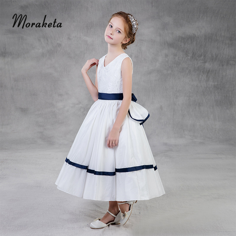 White Flower Girl Dresses For Weddings V-neck Sleeveless Ball Gown Toddler Evening Gowns First Communion Dresses For Girls