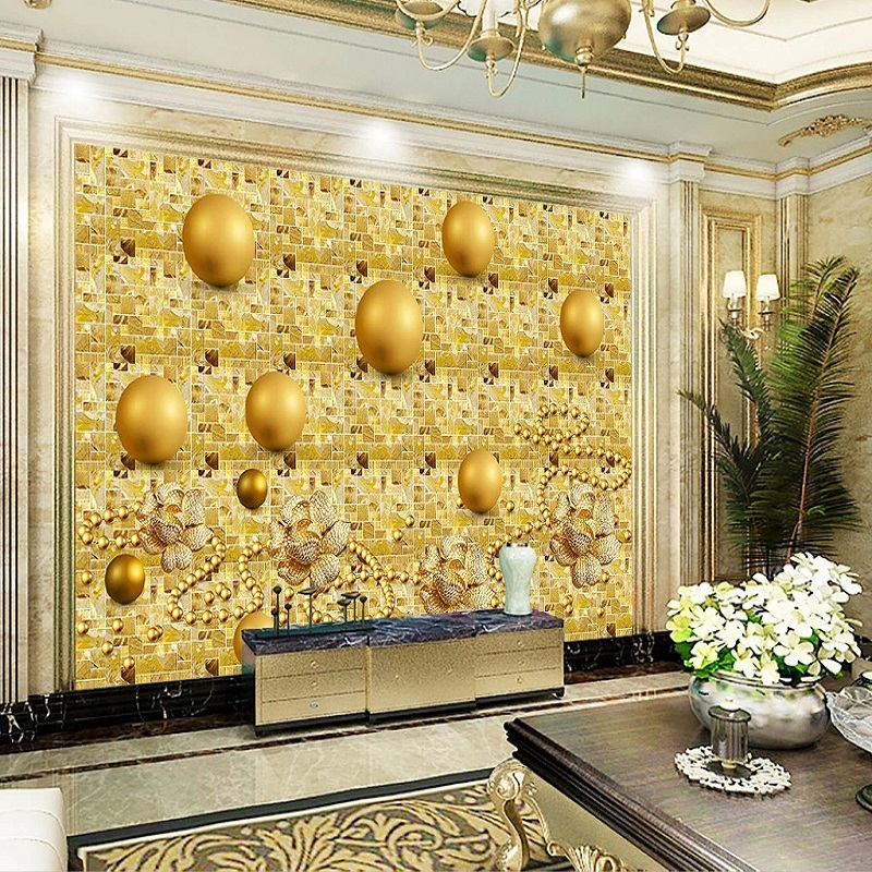 Custom Large Mural 3D Wallpaper Fashion Modern Luxury Creative Golden Jewelry Mosaic Sphere TV Back Wall Decor 5D Embossed