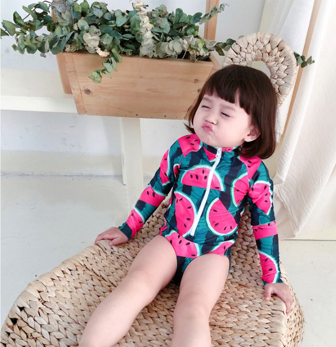 KID'S Swimwear One-piece Long Sleeve Surfing Sun-resistant Tour Bathing Suit Cool Watermelon Girls Baby Holiday Hot Springs Swim