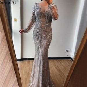 Image 2 - Dubai Silver O Neck Mermaid Evening Dresses Design 2020 Luxury Long Sleeves Sequins Beading Evening Gown LA70249