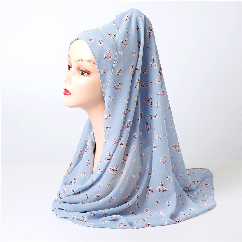 Women Plain Chiffon Muslim Hijab Wraps Elegant Floral Foulard Headband Scarves For Ladies Pashmina Hijabs Scarf 2020 New