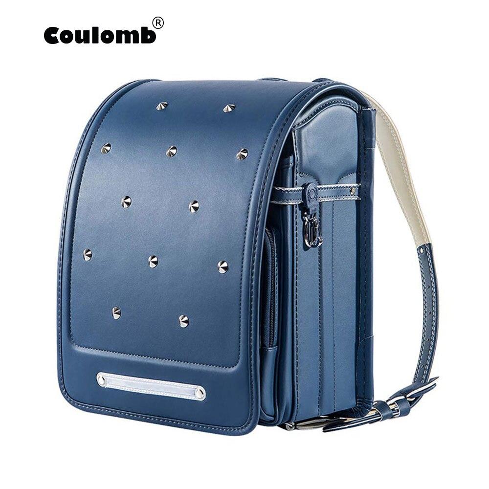 Coulomb Kid Backpack For Boys And Girl School Bag PU Rivets Hasp Randoseru Orthopedic Messenger Book Bags Japan Backpack A4 Bag