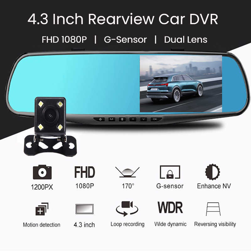4.3 Inch Xe Đầu Ghi Hình Siêu Nhỏ FHD Video 1080P Chiếu Hậu Xe Máy Ảnh Ống Kính Kép Tự Động Ghi Hình Ban Đêm đầu Ghi Hình Gương Dash Cam
