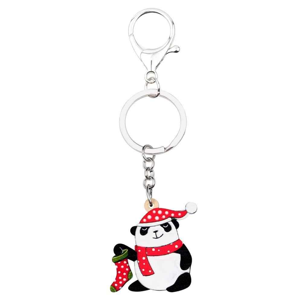 Bonsny Acrílico Natal Panda Bonito Manchado Meias Chapéu Cachecol Encantos Chaveiro Anéis Chave Do Carro da Carteira Bolsa Chaveiro Presente Para menina Homens