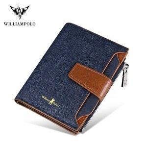 Мужской тонкий бумажник с отделением для кредитных карт WilliamPolo, мини-чехол с несколькими отделениями для карт, тканевая пряжка на молнии