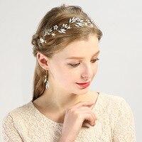 Mingli Tengda Glass Headwear Golden Flower Crystal Wedding Accessories Hair Band Bride Ornaments Headbands Crown Tiara Headband