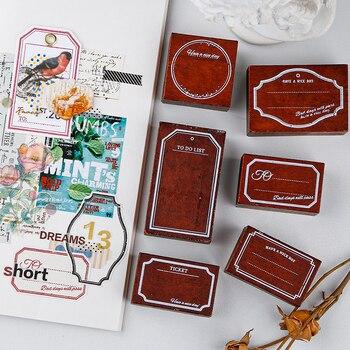 Yoofun sello de borde Vintage sellos de goma madera para álbum de recortes bala diario sello estándar creativo marco DIY