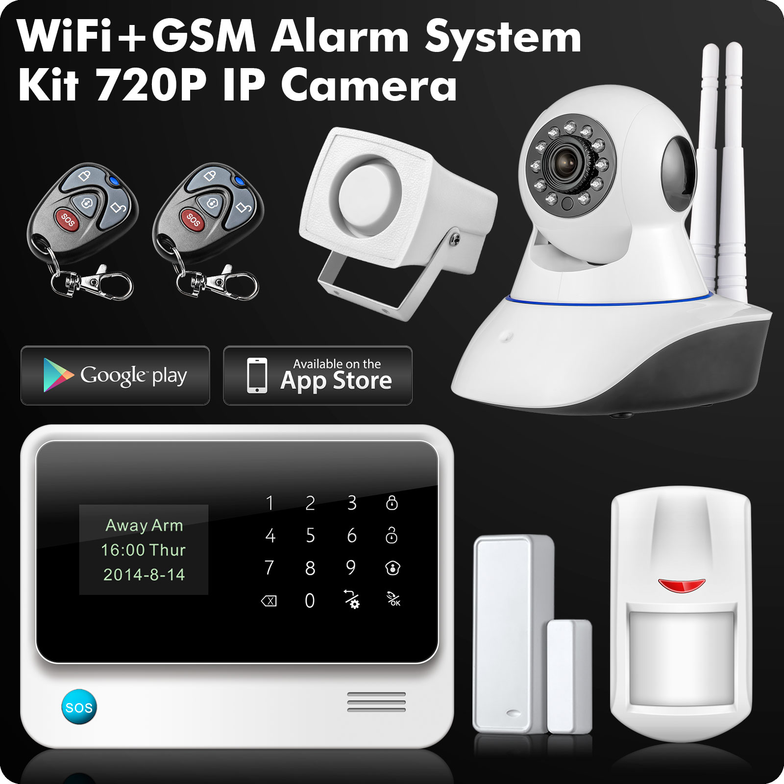 G90B 2.4G WiFi GSM GPRS SMS Wireless Home Security Alarm System IOS Android APP Remote Control Detector Sensor