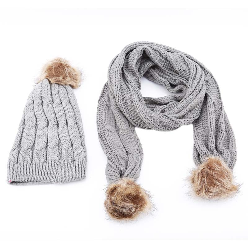 Winter Hats For Women Knitted Two-Piece Girl Solid Color Warm Wool Hats Scarves Suit Female Wool Pompon Scarf