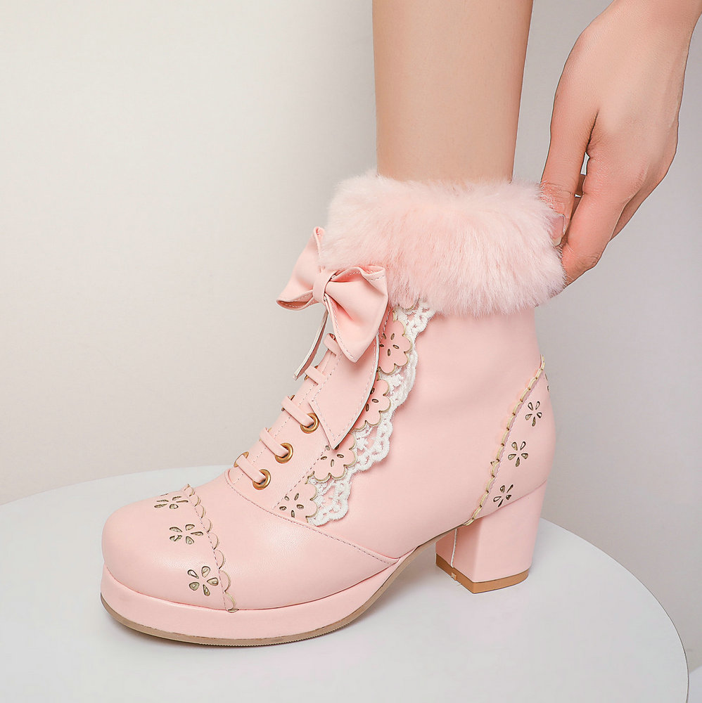 Lolita Girls Winter Boots Pink Women Fur Bowtie Butterfly-Knot Lovely Ladies JK-Uniform Japanese Cosplay Party Wedding Shoes