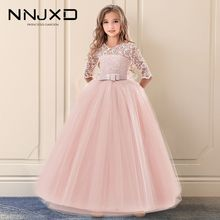 Girl Dress Bridesmaid First-Communion Lace Party Wedding-Pageant Princess Children