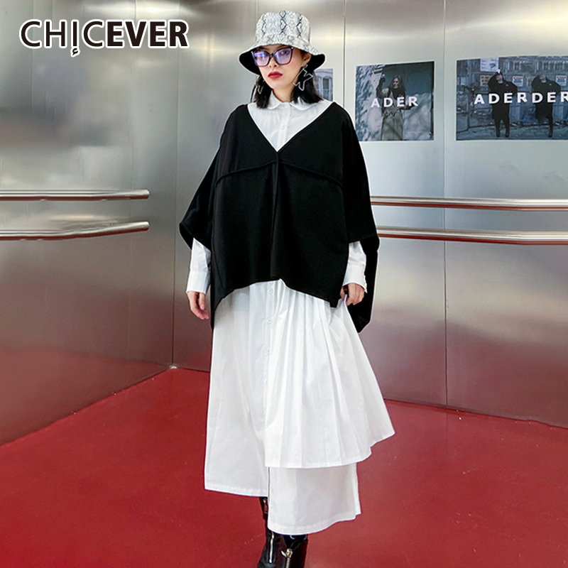 CHICEVER Patchwork Hit Color Two Piece Set Women V Neck Irregular Tops Lapel Collar Pleated Midi Dress Female Suits 2020 Fashion