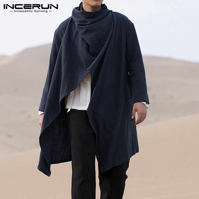 Chinese Vintage Mannen Trenchcoat Katoen Lange Mouwen Sjaal Kraag Hip-Hop Jas Jassen Mannen Mantel Bovenkleding Punk Stijl Streetwear