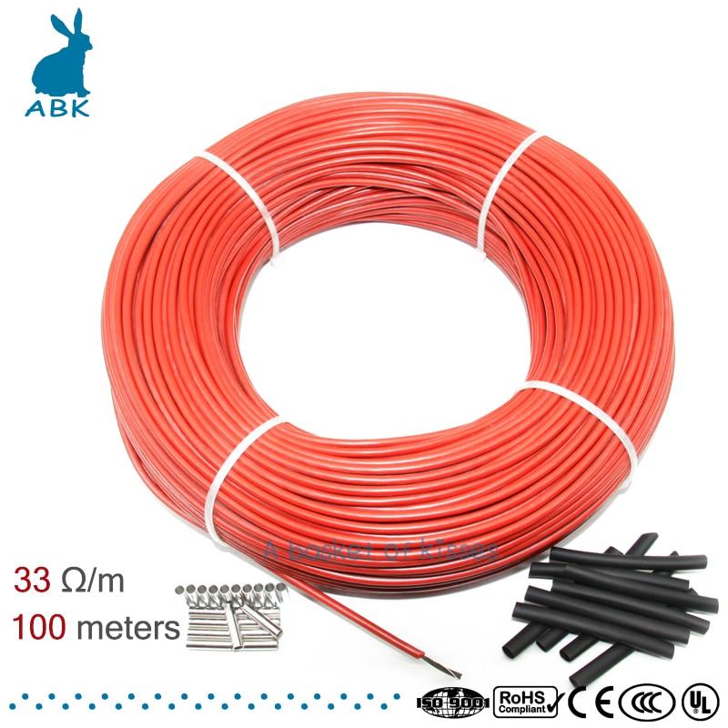 Низкая стоимость многоцелевой 12K 33ohm углеродное волокно нагревательный кабель провод для обогрева пола 100 м новый инфракрасный высокое каче...