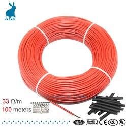 Cable de calefacción de fibra de carbono multiusos de bajo costo 12K 33ohm cable de calefacción de suelo 100m nuevo cable de calefacción infrarrojo de alta calidad