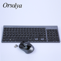 2.4G Wireless Keyboard and Mouse Combo,Italian,German,French Orsolya Compact Silent Full size Keyboard For PC Computer Laptop