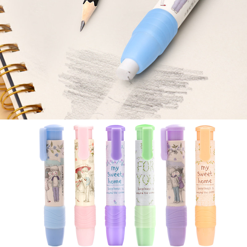 Retractable Click Eraser Cute Pencil Creative Stationery  Rubber Stick Erasers School Supplies For Kids #BW