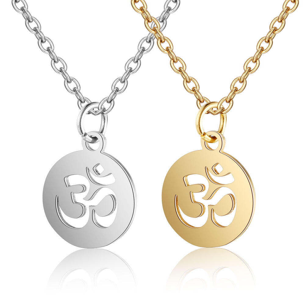 Om Necklace Gold Plated charm pendant and chain aum yoga mantra meditation Ohm