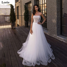 Lorie Beach Wedding Dresses Strapless Pearls Top Tulle Skirt  Sexy Bride Dress Boho Gowns
