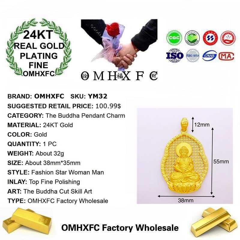 OMHXFC hurtownia YM32 moda europejska kobieta mężczyzna Party urodziny prezent ślubny budda DIY akcesoria 24KT złoty wisiorek urok