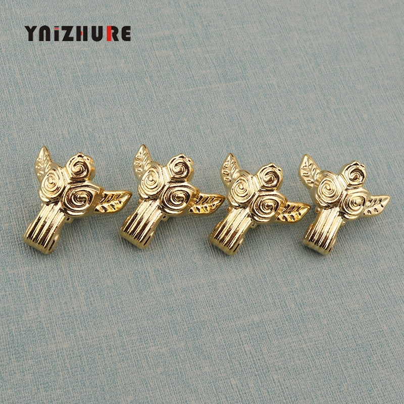 1pc 31*32mm Zinc Alloy Beast Foot,Decoration Legs,Rose Flower Leg,Vintage Wooden Box,Cabinet Corner,Gold Plated Color