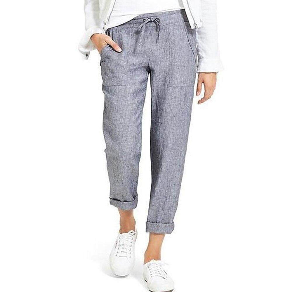 New Cotton Linen Pants Women Trousers Loose Casual Solid Color Women's Harem Pants Female Capris Summer Autumn Pants Hot Brand