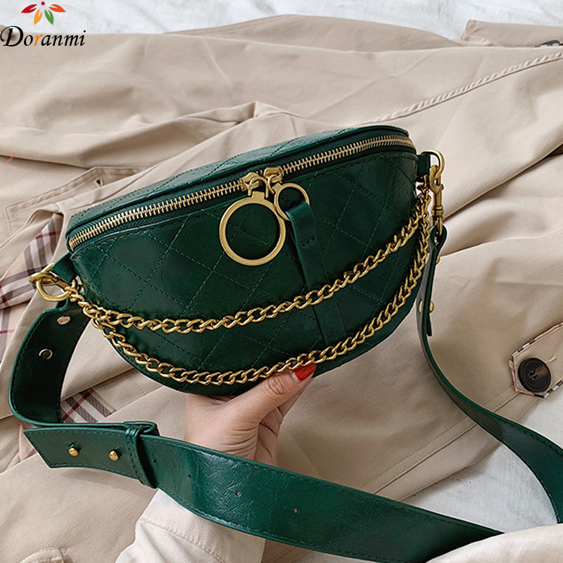 DORANMI Diamond Lattice Women's Fanny Pack 2019 Chain Strap Leather Chest Bag Female Crossbody Belt Bags Ringd Nerka  BG356