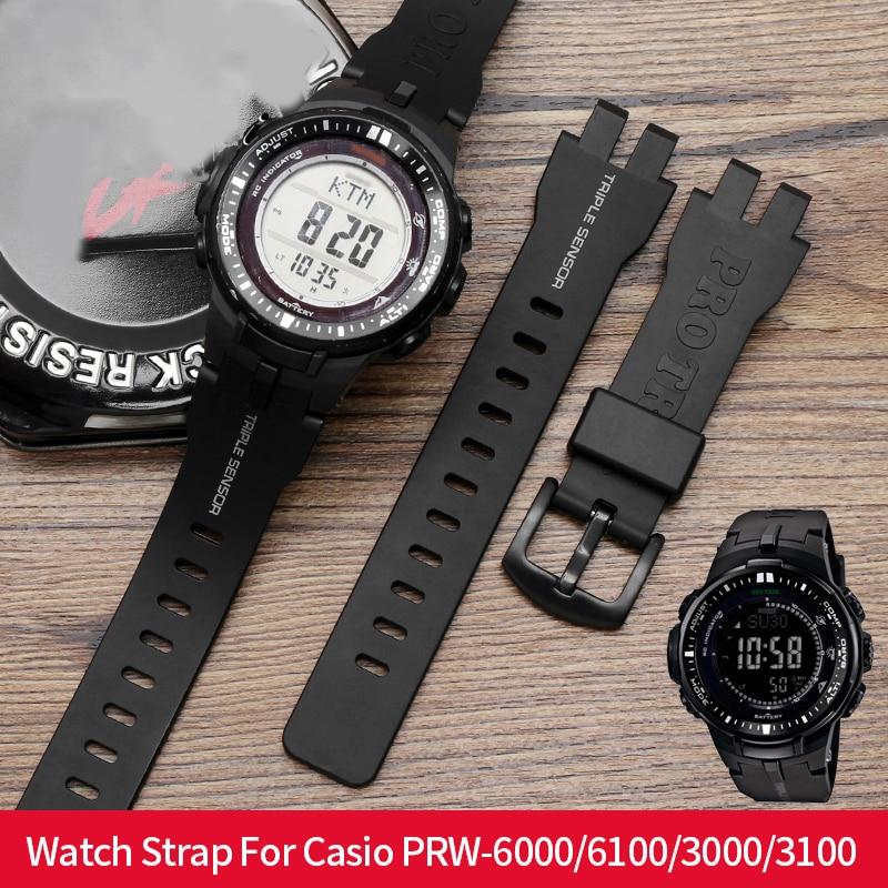 Original Silicone Watch Strap For Casio PRW-6000/6100 Soft Watch Band For Casio PRW-3000/3100 Watch Bracelet For Casio G-shock