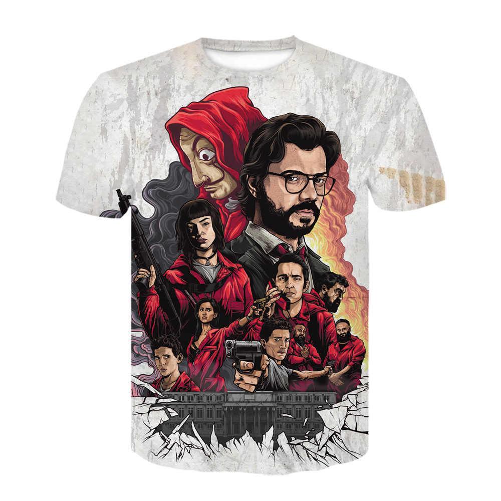 Het Huis Van Papier 3D Print T-shirt Mannen La Casa De Papel Tshirt Harajuku Geld Heist T-shirt Fashion off Wit T-shirt Cosplay