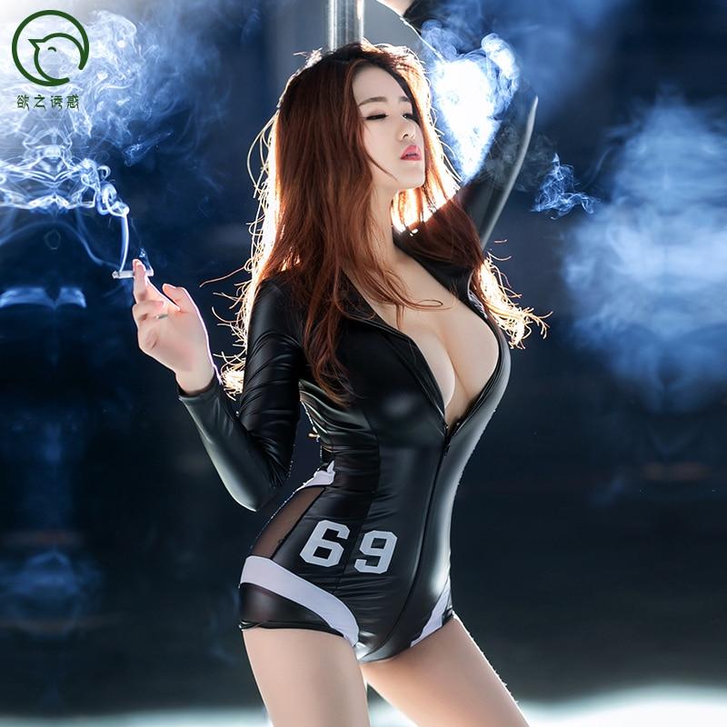 Sexy Black Bodysuits PU Mesh Patchwork Long Sleeve Zipper Open Crotch Bodysuit Body Sexy Hot Erotic Pole Dance Clubwear Catsuit