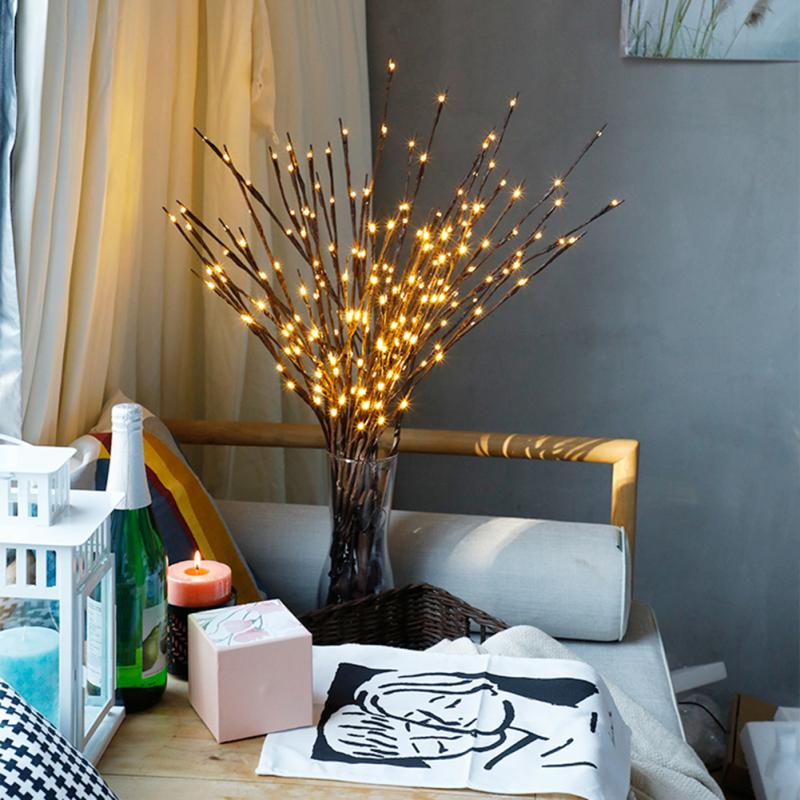 1Pcs Willow Branch Lights LED Lamp  Vase Filler Willow Twig Lighted Branch Christmas Wedding Decorative Lights 20 Bulb