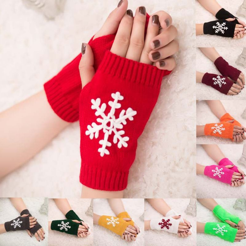 Christmas New Knit Gloves Women Girls Half Finger Snowflake Pattern Glove
