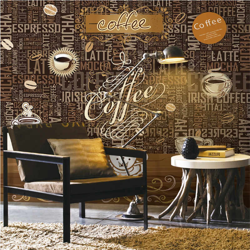 Hand Drawn Vintage Coffee Shop 3d Alphabet Background Wall Paper Cafe Restaurant Snack Bar Industrial Decor Mural Wallpaper 3d Aliexpress
