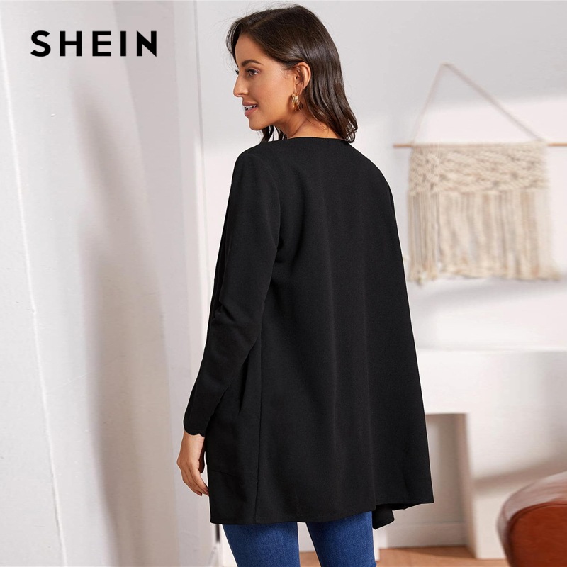 SHEIN Round Neck Solid Open Front Scallop Trim Elegant Coat Women 2019 Autumn Long Sleeve Office Ladies Basic Pocket Outwear 2