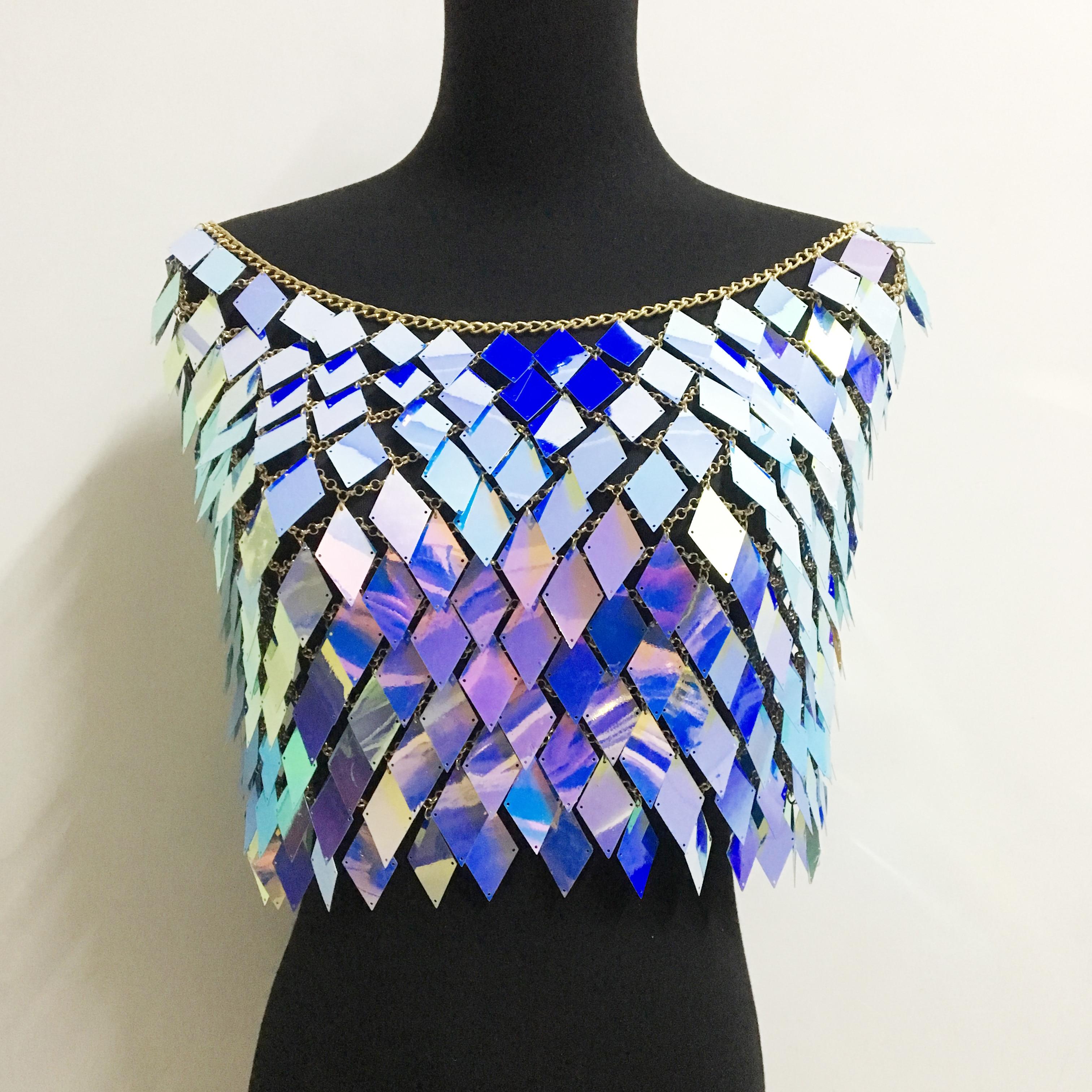 Electric Blue Fishnet Crop Top Bra Diamante Sequin Glitter Festival Rave Ibiza