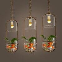 Duszpasterskie owalne szkła Pot żelaza kwiat roślina doniczkowa oświetlenie led na taras restauracja/bar. Żyrandol w Żyrandole od Lampy i oświetlenie na